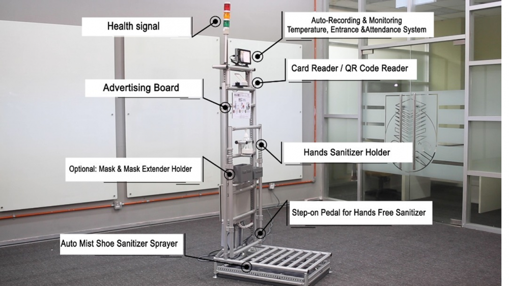 All-in-One Pandemic Prevention Solution: MOST-Plus (Modular and Open System Technology) – with Auto-mist Shoes/ Foot Sanitizer, Health Tower Signal, Holders (Face Mask and Mask Extender) and Advertising Board